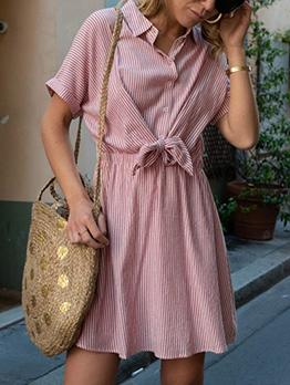 Striped Tie-Wrap Blouse Dress For Women