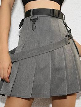 Euro High Waist Belt Decor A-line Pleated Skirt