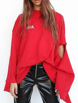 Stylish Crew Neck Letter Print Asymmetric Women Sweatshirt