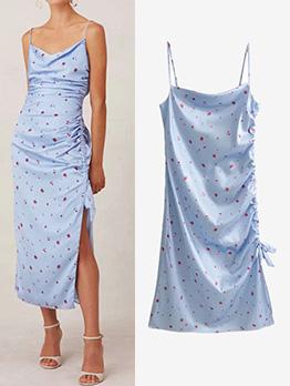 Casual Drawstring Spaghetti Straps Floral Maxi Dress