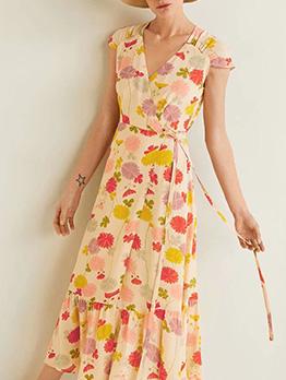 V Neck Flounce Hem Tie-Wrap Flower Dresses