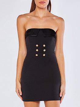 Sexy Button Decor Black Strapless Dresses