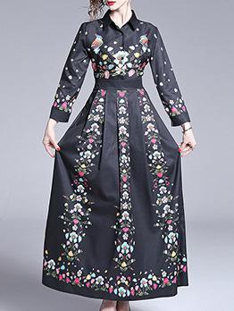 Turndown Neck Flower Printed Pleated Maxi Dress