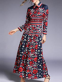 Ladies Flower Printing Long Sleeve Maxi Dress