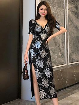 V Neck Flower Print Short Sleeve Midi Dress