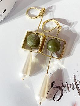 Retro Water Drop Pearl Square Greenstone Earrings