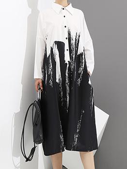 Fashion Turndown Collar Contrast Color Long Sleeve Dress