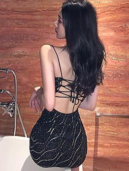 Cross Belt Backless Sequin Sexy Dress