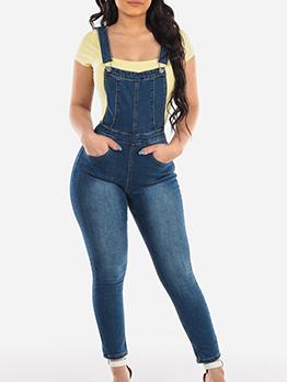 Hot Sale Fitted Ladies Denim SuspenderTrousers