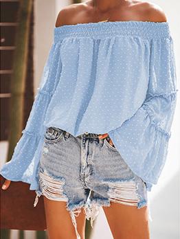 Fashion Off Shoulder Solid Flare Sleeve Blouse