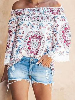 Fashion Off Shoulder Printed Long Sleeve Blouse
