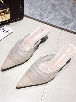 Fashion Gauze Low-heel Slippers