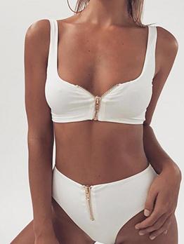 Fashion Sexy Zipper Up High Waist Bikini Set