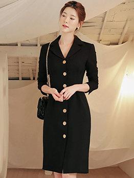Ol Style Lapel Collar Single-Breasted Black Dress