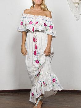 Boat Neck Embroidery Smart Waist Maxi Dress