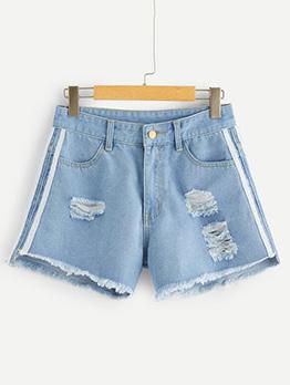 Line Patchwork Pockets Ripped Denim Shorts