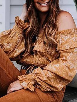Bohemian Print Ruffled Long Sleeve Women Blouse