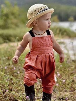 Fashion Solid Sleeveless Girls Baby Jumpsuit