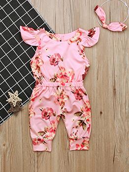 Chic Flower Printed Sleeveless Baby Sleepsuits