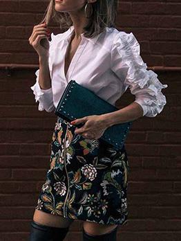 Ol Style Stringy Selvedge Long Sleeve White Blouse