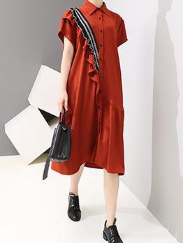 Stylish StringySelvedgeShort Sleeve Shirt Dresses