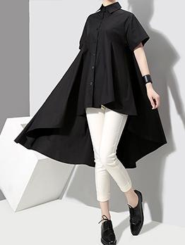 Loose Short Sleeve Solid Women Shirt Dresses
