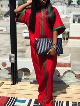 Contrast Color Loose Short Sleeve Maxi Dresses