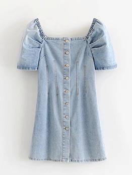 Square Neck Puff Sleeve Short Sleeve Denim Dress
