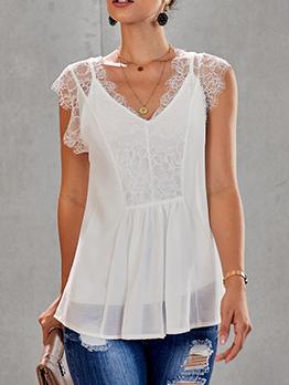 Hot Sale Lace Patchwork V Neck T-shirt For Women