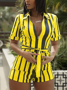 Fashion Turndown Collar Striped Short Sleeve Romper