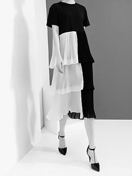 Contrast Color Tiered Design Short Sleeve Dress