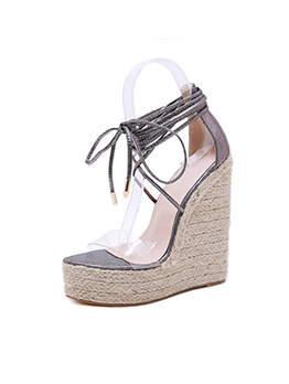 Bohemian Clear Lace Up Wedge Sandals