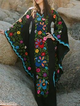 Bohemian Flare Sleeves Flower Printing Maxi Dress