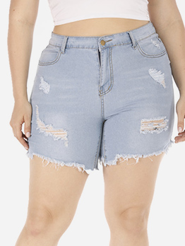 Summer Plus Size Frayed Hem Jeans For Women