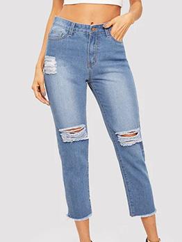 Fashion Ragged Hem Ripped Jeans For Women