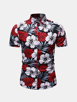 Turndown Neck Flower Men Short Sleeve Shirt