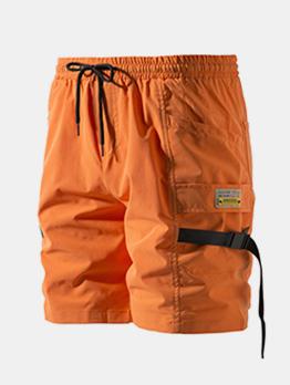 Ribbon Decor Drawstring Mens Casual Shorts