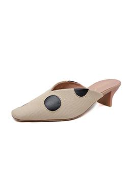Casual Dot Print Heeled Slipper For Women