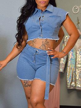Fashion Washed Pockets Denim Two Piece Sets