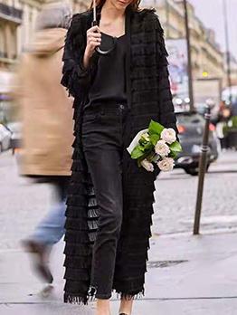 Easy Match Solid Color Tassel Women Long Coat