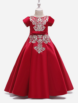 Bow Large Swing Embroidered Girls Maxi Dress