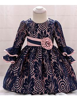 Stereo Flower Embroidered Little Girls Dress