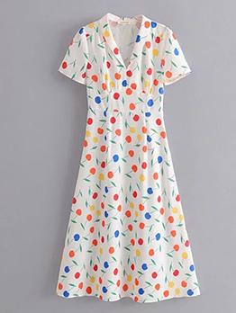 Cherry Print Short Sleeve Summer Dress