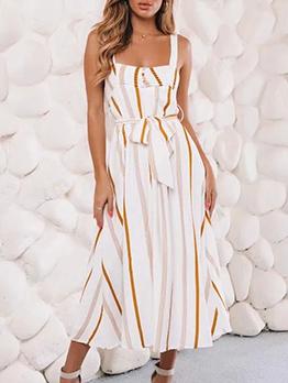 Striped Strap Sleeveless Summer Dresses