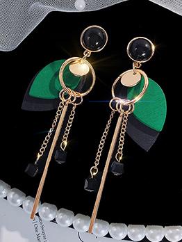 Korean Wood Patchwork Drop Earrings For Women