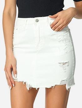 Fashion Ragged Hem Solid Denim Skirt
