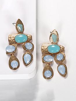 Euro Gem Alloy Metal Drop Earrings For Women