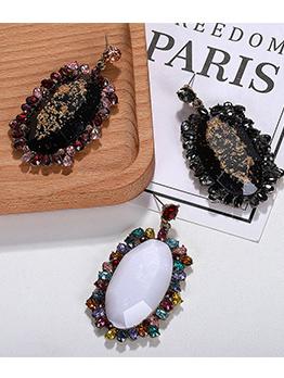 Vintage Rhinestone Patchwork Drop Earrings