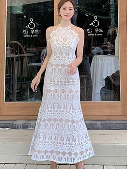 Elegant Lace White Halter Dress