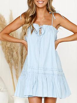 Solid Spaghetti Straps Flounce Hem Summer Dresses